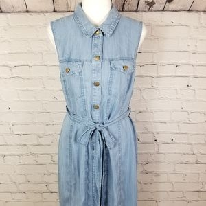 Calvin Klein 12 sleeveless chambray midi dress
